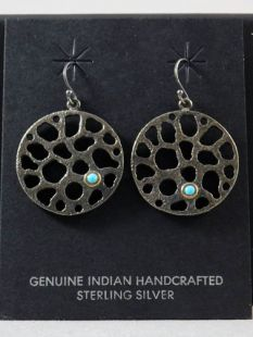 Native American Apache Made Earrings with Turquoise Stone