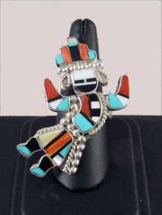 Native American Zuni Made Inlaid Ring with Rainbow Man