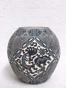 Native American Acoma Etched and Handpainted Traditional Pot with Kokopelli