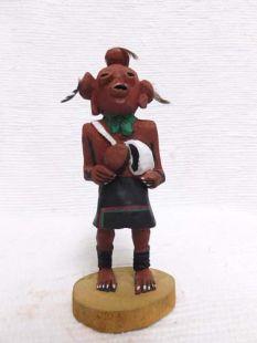 Native American Hopi Carved Mudhead Katsina Doll with Flour Sack