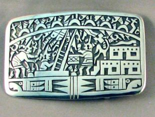 Native American Hopi Made Mudhead Katsinam Belt Buckle