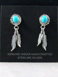Native American Navajo Made Eagle Feather Earrings with Turquoise