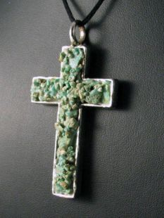 Native American Navajo Made Pendant--Cross with Turquoise