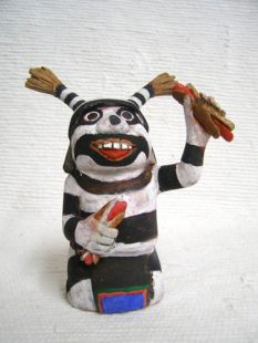 Native American Hopi Carved Clown Katsina Doll with Hot Dogs