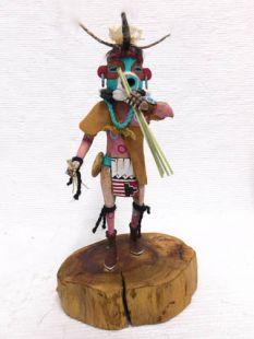 Vintage Native American Hopi Carved Turquoise Nose Plug Man Warrior Katsina Doll