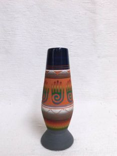 Native American Navajo Red Clay Vase with Healing Hand