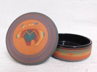 Native American Navajo Red Clay Medium Round Jewelry Box with Bear
