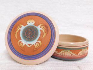 Native American Navajo Red Clay Medium Round Jewelry Box with Turtle