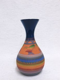 Native American Navajo Red Clay Vase with Eagle
