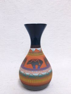 Native American Navajo Red Clay Vase with Bear