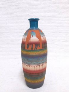 Native American Navajo Red Clay Vase with End of the Trail