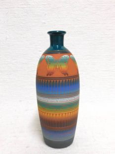 Native American Navajo Red Clay Vase with Butterflies