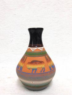 Native American Navajo Red Clay Vase with Buffalo