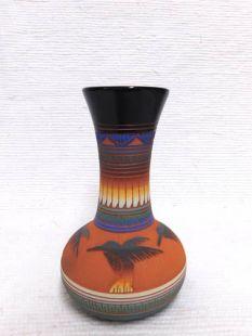 Native American Navajo Red Clay Vase with Hummingbirds
