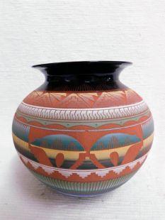 Native American Navajo Red Clay Pot--Bears