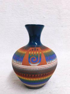 Native American Navajo Red Clay Smoke Pot with Healing Hand