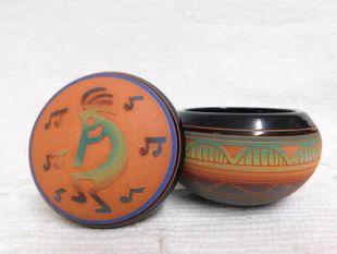 Native American Navajo Red Clay Small Round Jewelry Box with Kokopelli