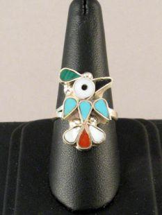 Native American Zuni Made Inlaid Ring with Hummingbird