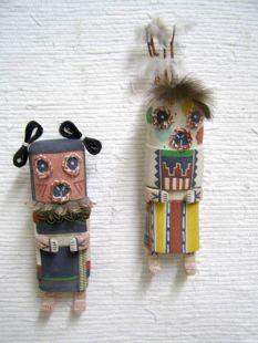 Old Style Hopi Carved Maasaw and Maasaw Mana Traditional Death Katsina Dolls