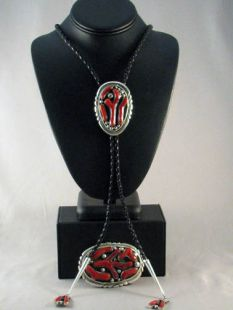 Vintage Native American Zuni Made Bolo and Buckle with Coral