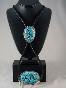Vintage Native American Zuni Made Bolo and Buckle with Turquoise