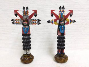 Native American Hopi Carved Shalako Dancer Katsina Dolls - BUY BOTH and SAVE!
