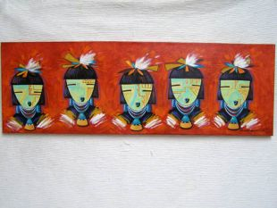 Native American Made Five Masked Maidens Painting