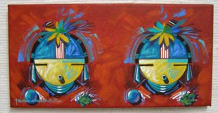 Native American Made Maiden Pair Painting