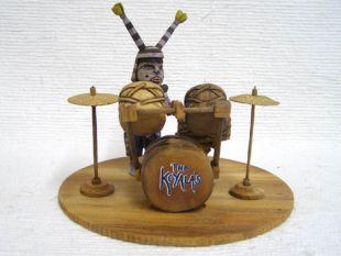 Native American Hopi Carved Clown Katsina Doll with Drum Set