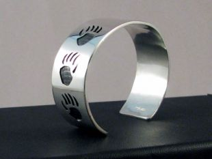 Native American Hopi Made Overlay Cuff Bracelet with Bear Paws