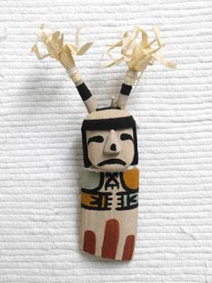 Old Style Hopi Carved Clown Traditional Katsina Doll Ornament--Sad
