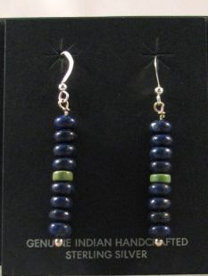 Native American Hopi Made Earrings with Lapis and Royston Turquoise