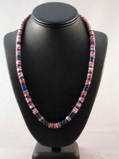 Native American Hopi Made Old Style Necklace with Spiny Oyster and Lapis