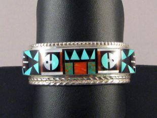 Native American Zuni Made Cuff Bracelet with Multistone Inlay