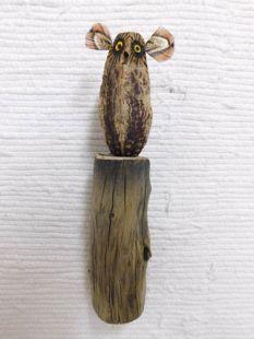 Mahogany Pod Owl on Wood--One