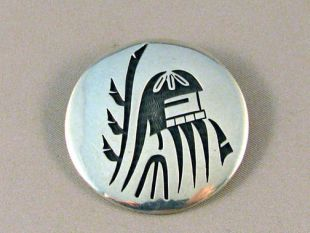 Native American Hopi Made Sterling Silver Overlay Pin/Pendant of Longhair