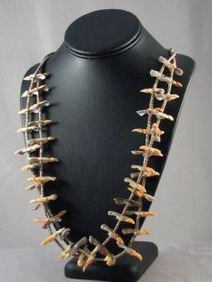 Vintage Native American Santo Domingo Made Two-Strand Fetish Necklace