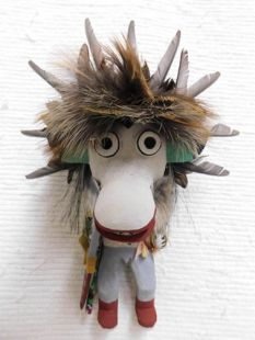 Old Style Hopi Carved Ogre Traditional Guard Katsina Doll--White