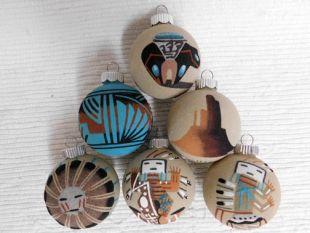 Native American Navajo Made Sand Painted Christmas Ball Ornaments