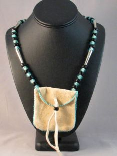 Native American Algonquin Made Medicine Bag Beaded Necklace