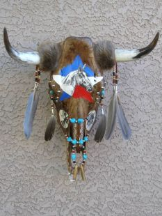 Native American Creek Etched and Decorated Steer Skull