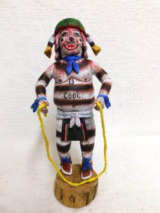 Native American Hopi Carved Clown Katsina Doll with Jump Rope