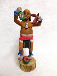 Native American Hopi Carved Clown Katsina Doll