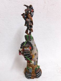 Native American Hopi Carved Left Handed Hunter and Hillili Guard Katsina Sculpture