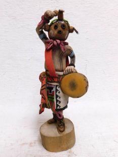 Native American Hopi Carved Mudhead Katsina Doll with Drum