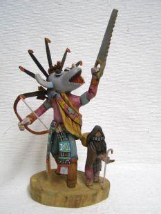 Native American Hopi Carved Ogre and Ogre Woman Disciplinarian Katsina Dolls