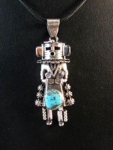 Native American Navajo Made Pendant--Yei with Turquoise