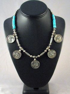 Native American Lakota Made Necklace with Quarters and Turquoise