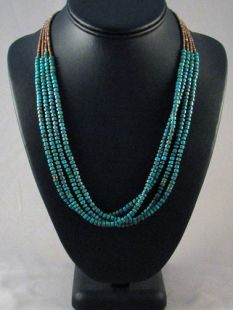 Native American Lakota Made Four-strand Turquoise Necklace