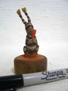 Native American Hopi Carved Clown Katsina Doll Holding a Lollipop